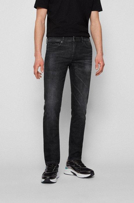 Blue extra-slim-fit jeans in Italian denim, Black