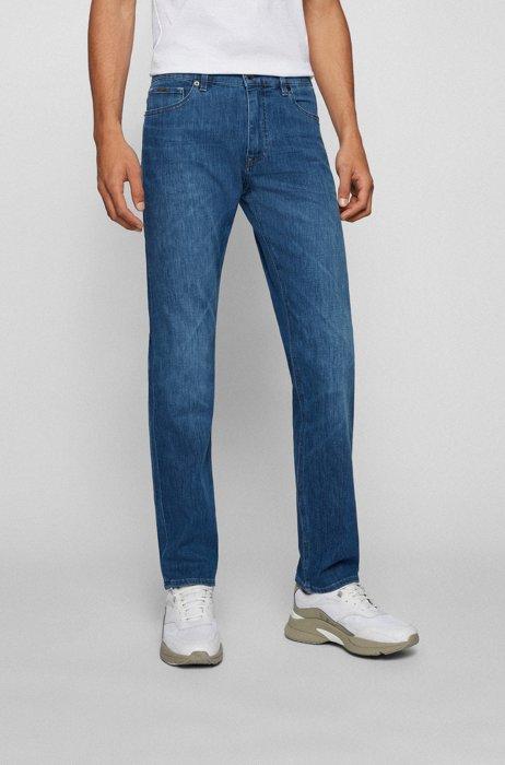 Regular-fit jeans in lightweight Italian stretch denim, Blue