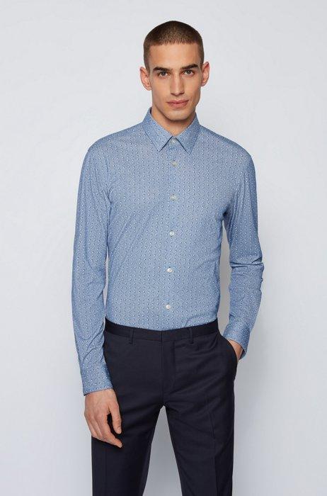 Slim-fit shirt in flex-weave piqué, Blue