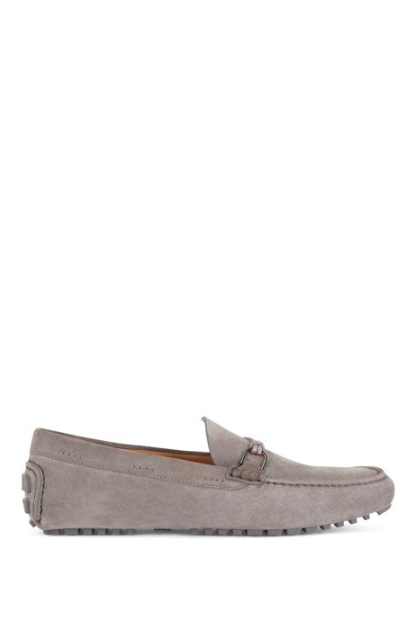 Italian-made driver moccasins in suede with cord trim, Dark Grey