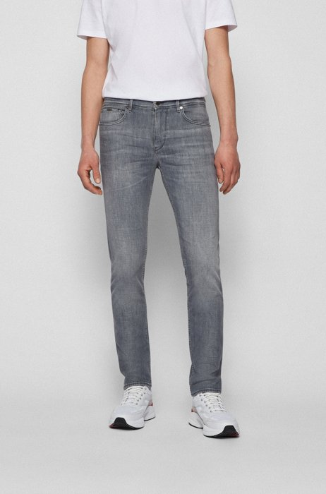 Extra-slim-fit jeans in gray Italian denim, Silver