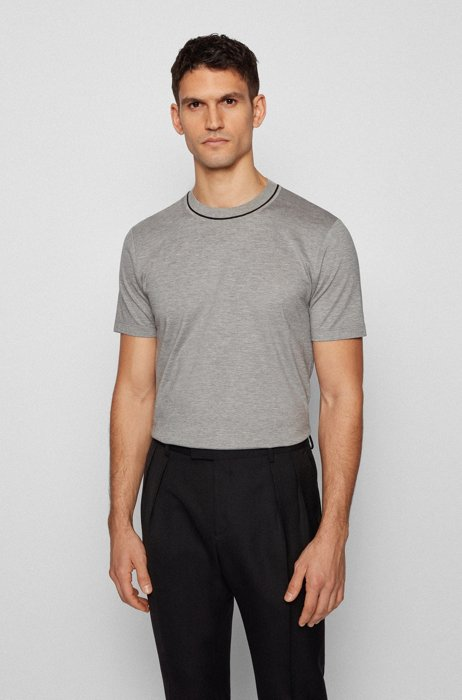 Regular-fit T-shirt in jacquard-knitted cotton and silk, Silver