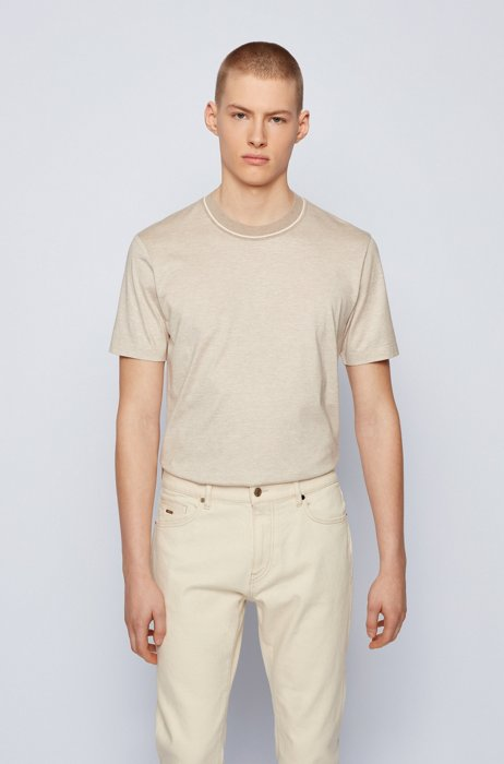 Regular-fit T-shirt in jacquard-knitted cotton and silk, Light Beige