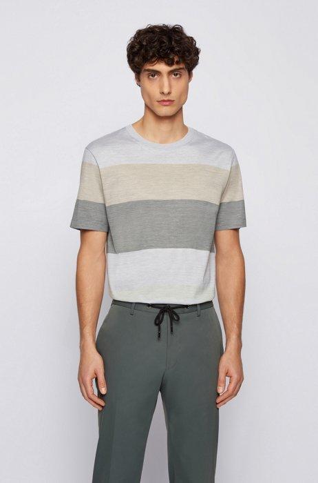 Block-stripe T-shirt in cotton and silk, White