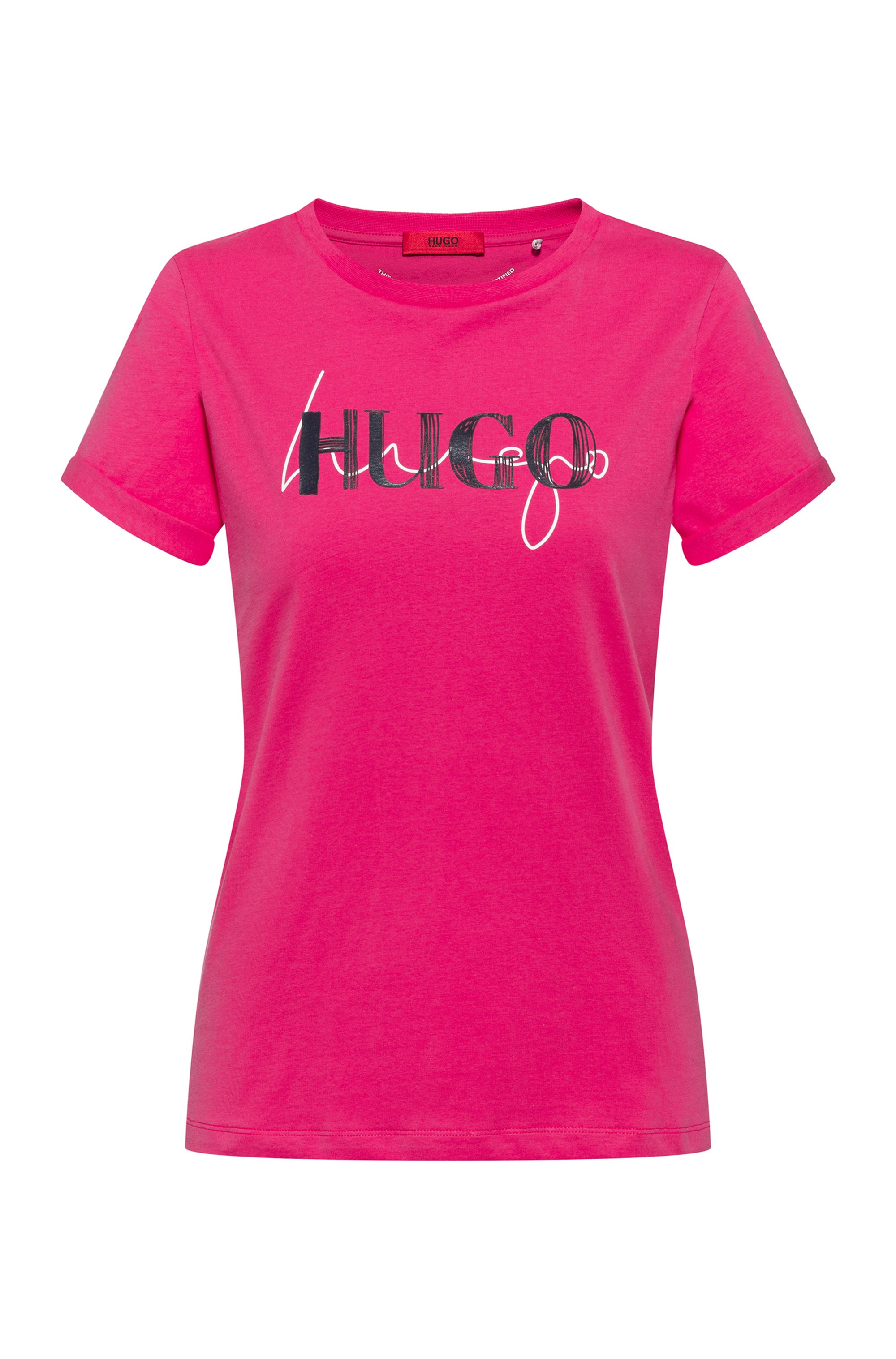 Slim-fit T-shirt in organic cotton with double logo, Pink