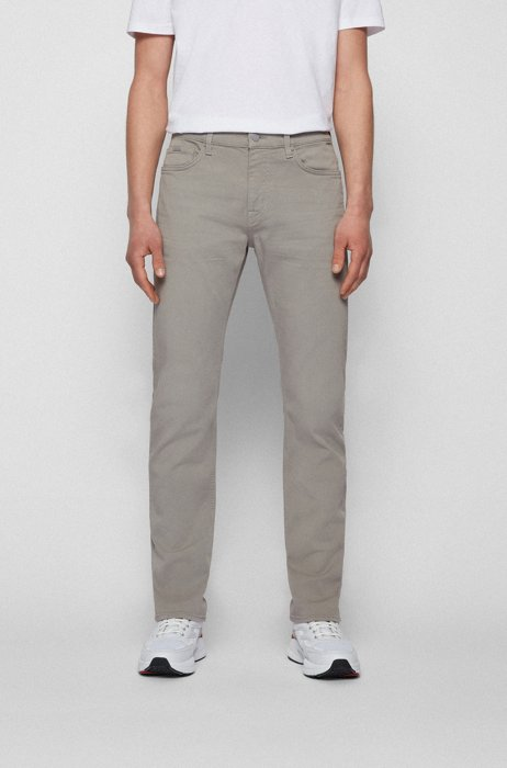 Slim-fit jeans in cashmere-touch Italian denim, Silver
