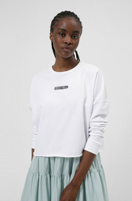 Relaxed-fit sweater in Recot® cotton with watercolor logo, White