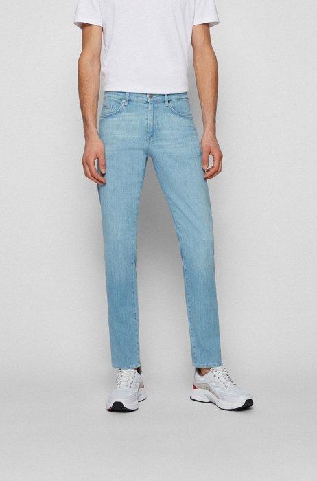Slim-fit jeans in blue super-soft stretch denim, Light Blue