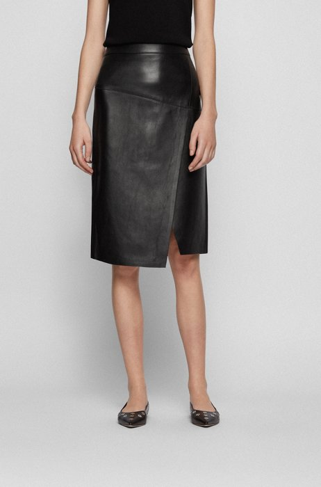 Wrap-style skirt in leather with asymmetric hem, Black