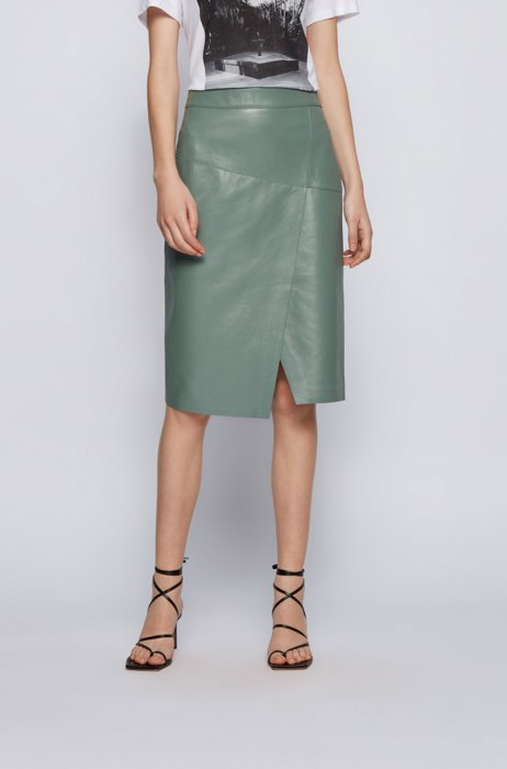 Wrap-style skirt in leather with asymmetric hem, Light Green
