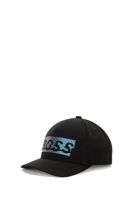 Logo cap in honeycomb-structured jersey, Black