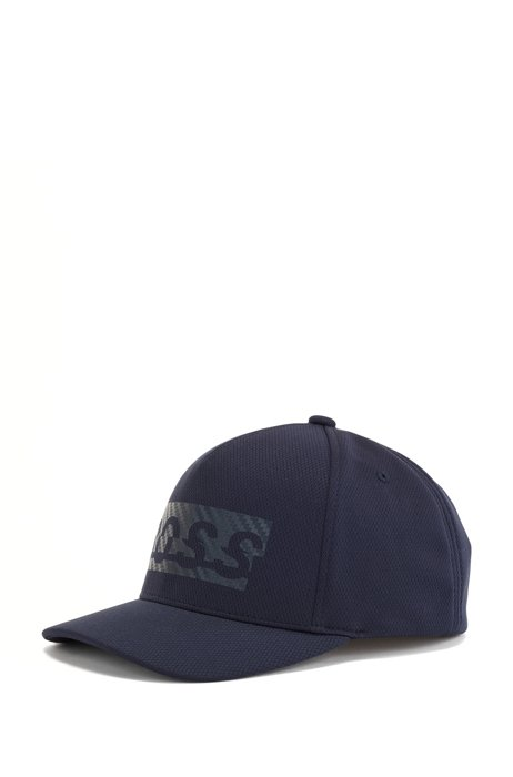 Logo cap in honeycomb-structured jersey, Dark Blue