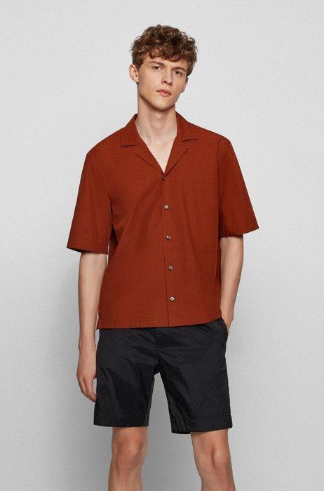 Short-sleeved regular-fit shirt in Italian cotton poplin, Light Brown