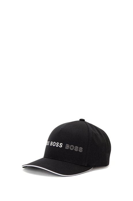 Cotton-blend cap with logo artwork, Black