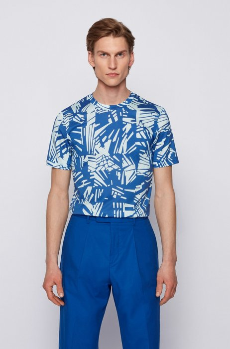 Slim-fit mercerized-cotton T-shirt with all-over print, Blue