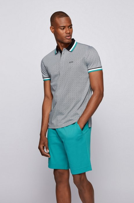 Micro-patterned polo shirt in pure-cotton jersey, Black