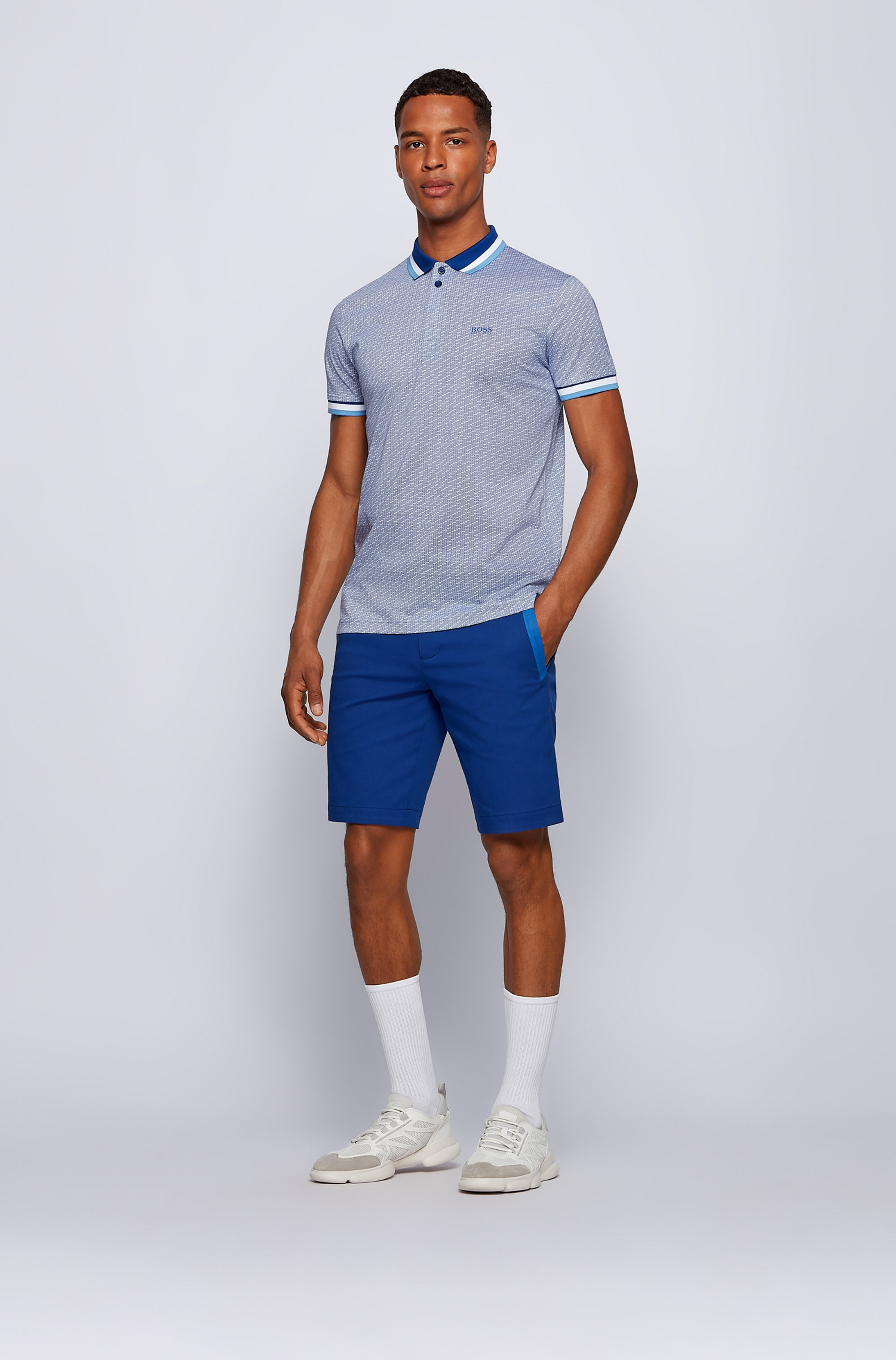 Micro-patterned polo shirt in pure-cotton jersey
