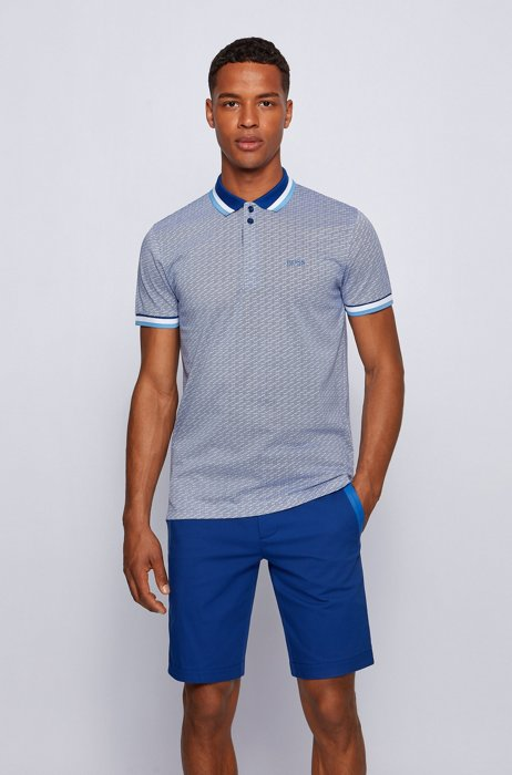 Micro-patterned polo shirt in pure-cotton jersey, Blue