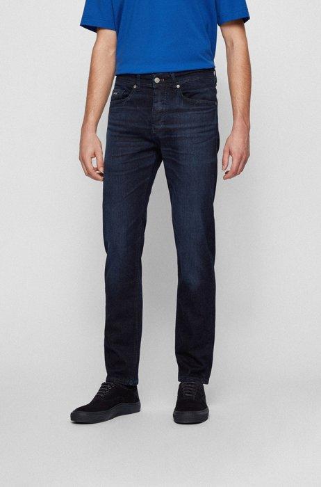 Tapered-fit jeans in dark-blue super-stretch denim, Dark Blue