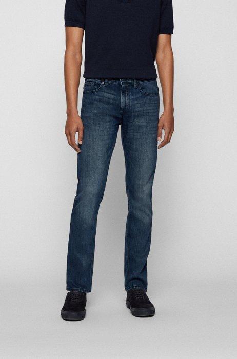 Blue-black slim-fit jeans in comfort-stretch denim, Dark Blue