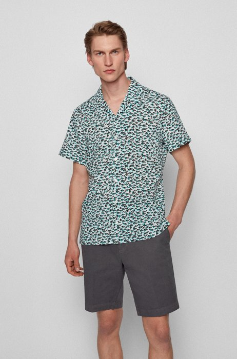 Regular-fit shirt in a printed cotton blend, White