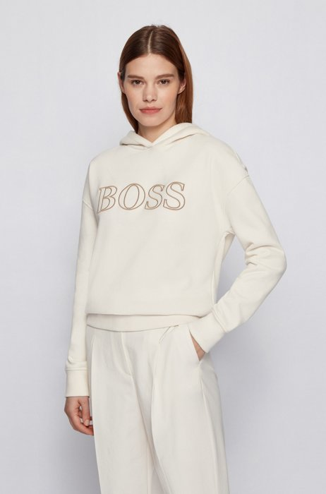 Relaxed-fit hooded sweatshirt with embroidered logo outline, White