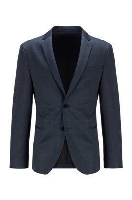 Slim-fit jacket in checked stretch jersey, Dark Blue