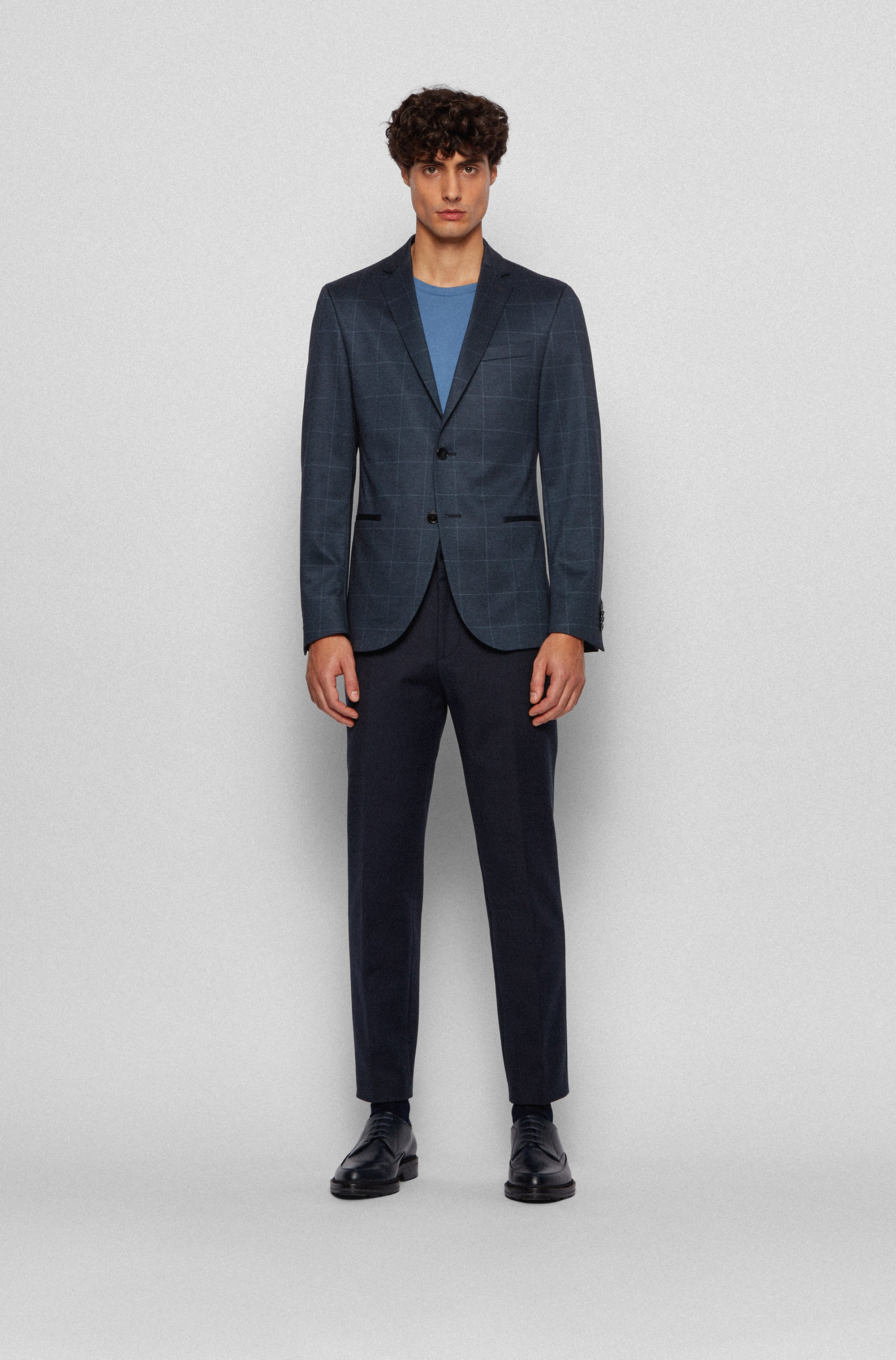 Slim-fit jacket in checked stretch jersey