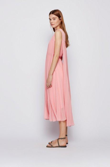 V-neck midi dress in recycled plissé chiffon, Pink