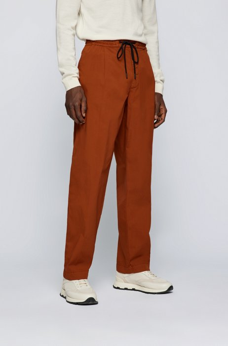 Pleat-front pants in paper-touch stretch cotton, Light Brown