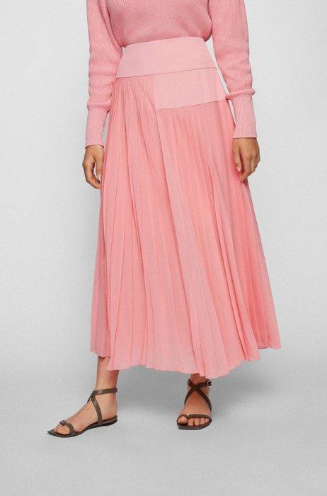 A-line midi skirt with plissé pleats and tonal panels, Pink