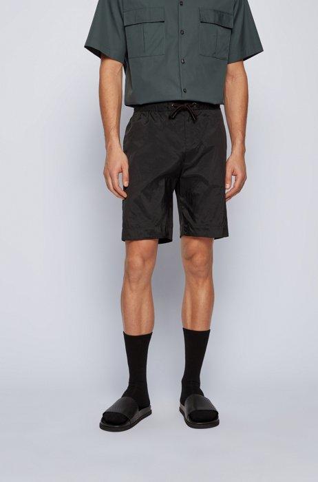 Lightweight drawstring shorts in crinkled fabric, Black