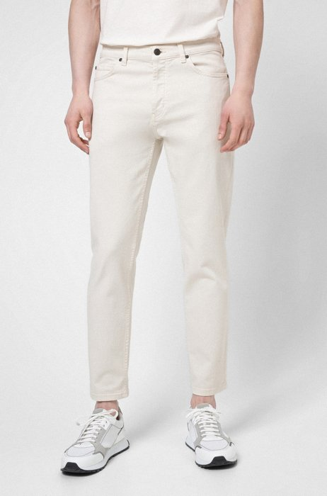 Tapered-fit jeans in stretch denim with organic cotton, White