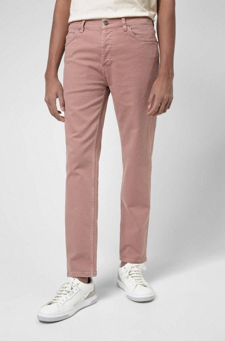 Tapered-fit jeans in stretch denim with organic cotton, Light Brown