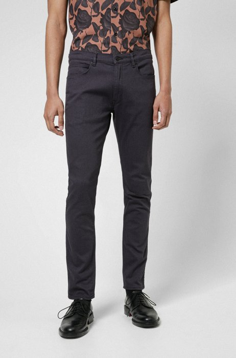 Extra-slim-fit jeans in dark-gray stretch denim, Dark Grey