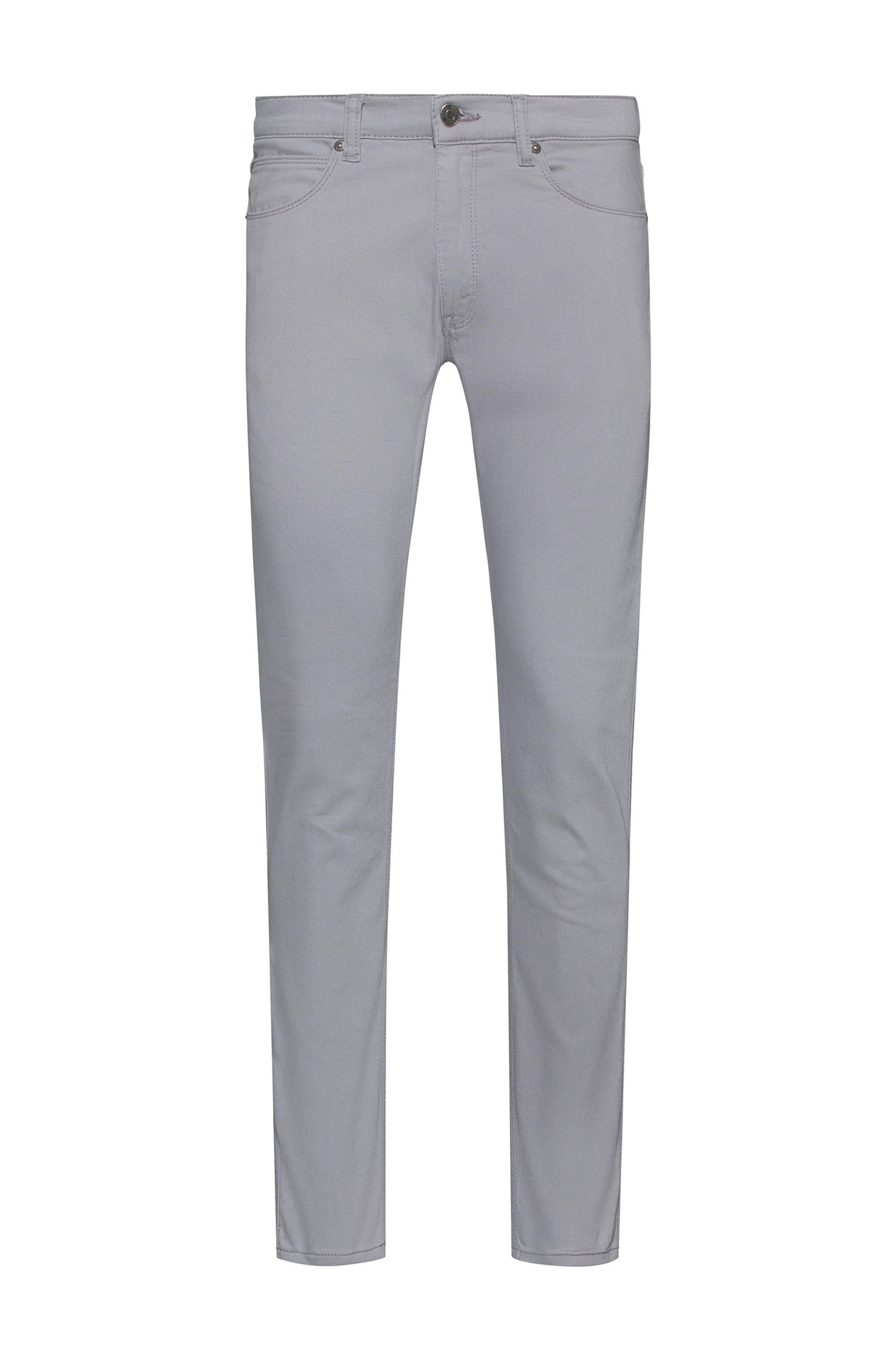 Extra-slim-fit jeans in dark-gray stretch denim, Silver