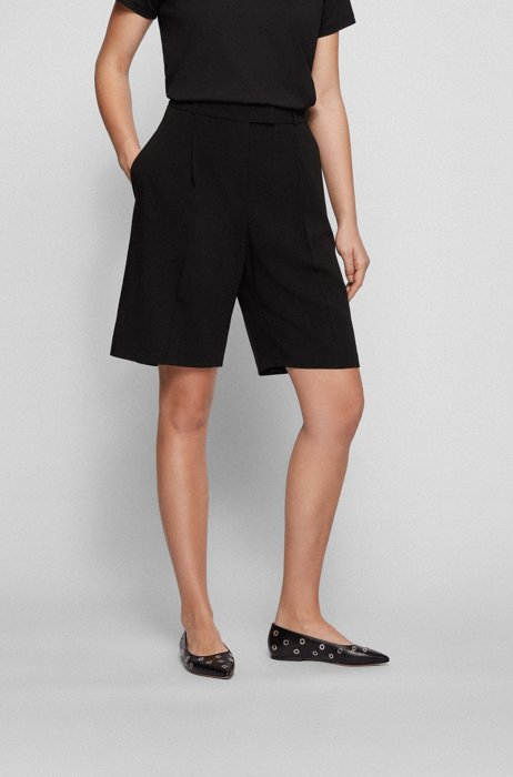 Wide-leg regular-fit shorts in virgin wool, Black