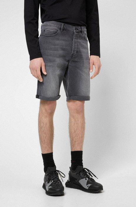 Tapered-fit shorts in gray stretch denim, Dark Grey