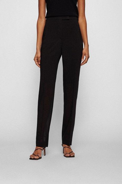 Regular-fit pants in virgin wool, Black