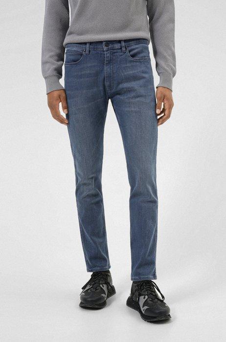Extra-slim-fit jeans in mid-blue stretch denim, Dark Blue