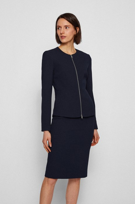 Structured-jersey regular-fit jacket with two-way zip, Light Blue