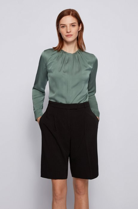 Ruched-neck blouse in stretch-silk crepe de Chine, Light Green