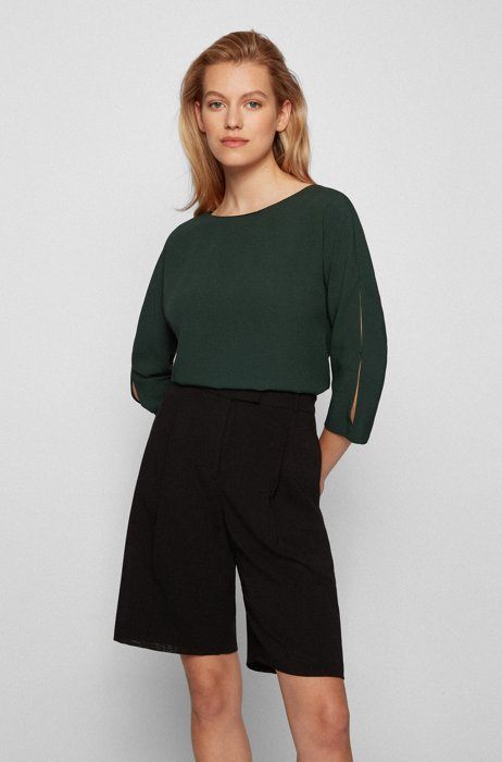 Crinkle-crepe top with cropped sleeves, Light Green
