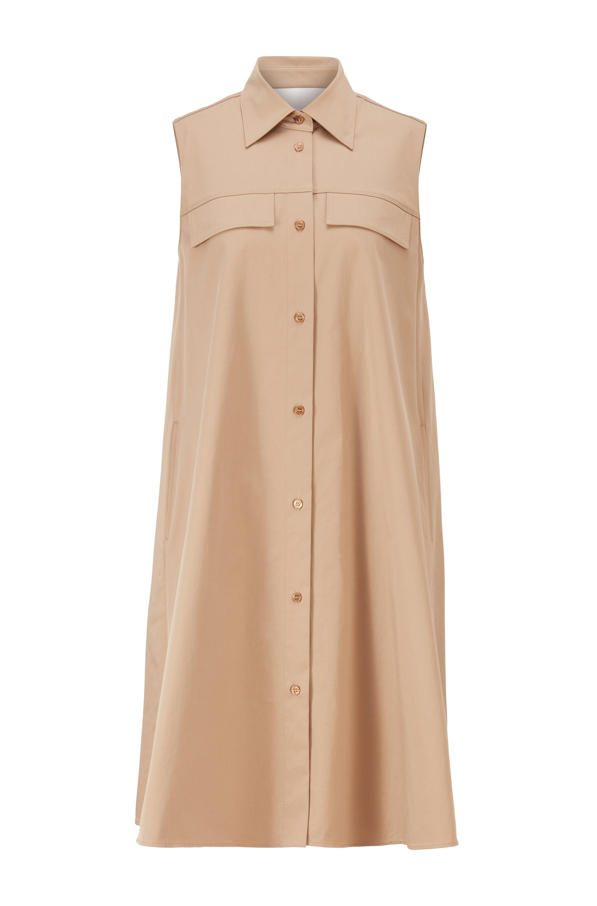 Relaxed-fit shirt dress in organic cotton with stretch, Beige