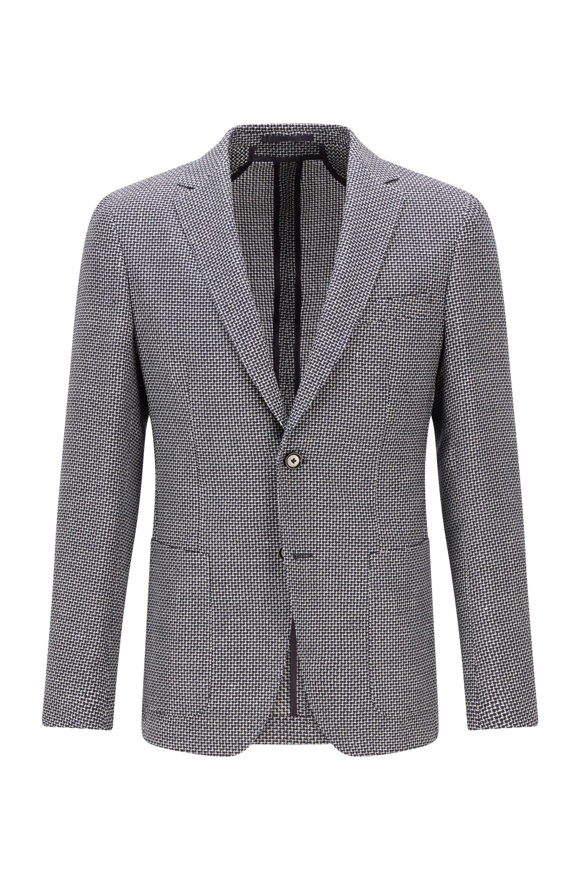 Patterned slim-fit jacket in virgin wool and linen, Dark Blue