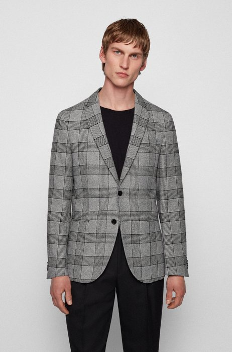 Slim-fit jacket in checked cotton blend, Black