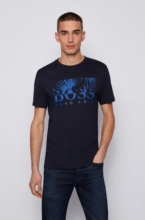 Regular-fit T-shirt in cotton jersey with logo artwork, Dark Blue