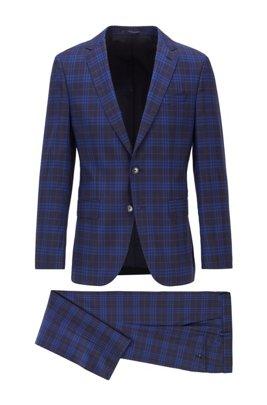 Slim-fit suit in checkered virgin wool, Blue