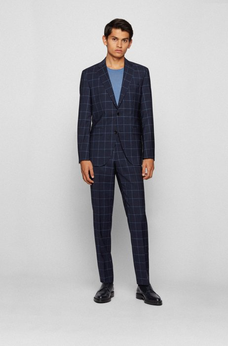 Regular-fit suit in virgin wool with windowpane check, Dark Blue