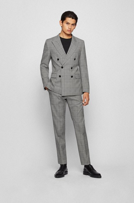 Double-breasted extra-slim-fit suit in checked cloth, Black